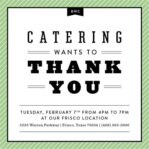 thank you letter catering company you re invited catering thank you on feb 7 black