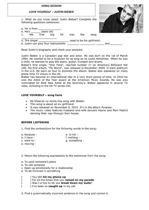 justin bieber biography reading comprehension song worksheet love yourself by justin bieber