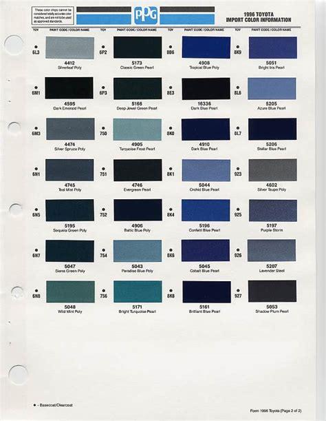 1996 toyota paint codes