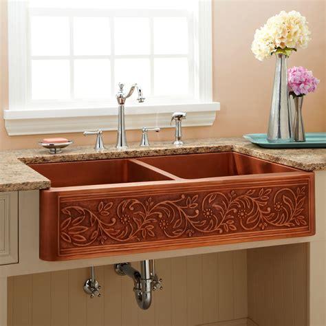 discount copper farmhouse sinks 25 quot floral design copper farmhouse kitchen