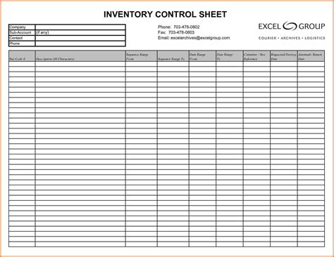 Blank Inventory Sheet Template by Inventory List Template Pdf And Free Printable Blank