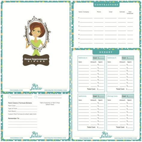 diy home improvement planner free printable tip junkie