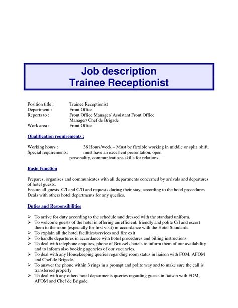 front desk receptionist job description for 10 exle resume receptionist job description