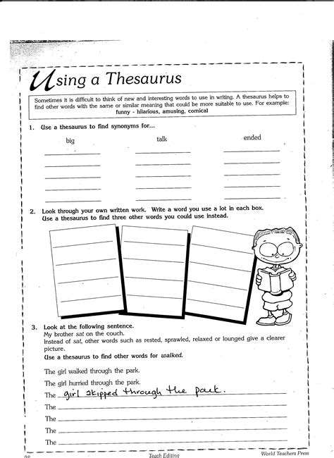 Thesaurus Template 6th grade lessons middle school language arts help