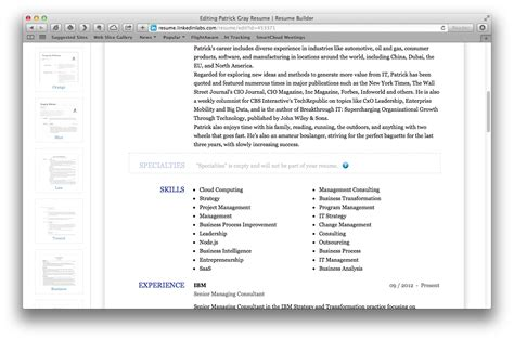 resume builder linkedin exle resume may 2015