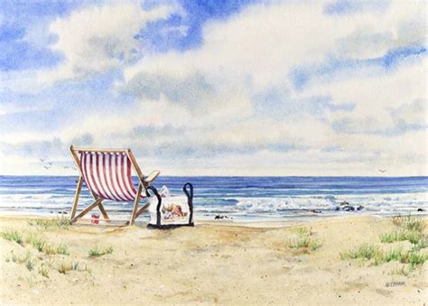 drift boat lessons california ocean s edge seascape watercolor by thomas a needham