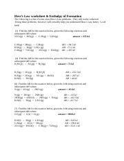 Chem1R HW-Hess's Law 1 Worksheet - Hesss Law Worksheet 1