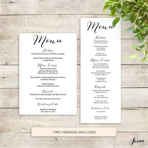 printable menu cards for wedding reception wedding menu template printable menu template 2535979
