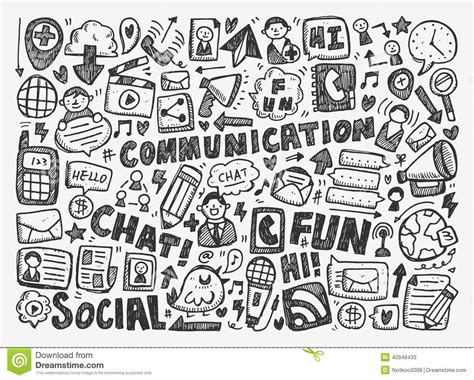doodle fill free doodle communication background stock vector image 40948433