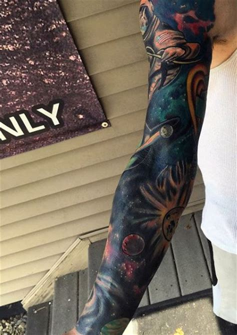 space sleeve tattoo 70 outer space tattoos for galaxy and constellations