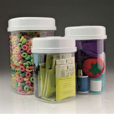 one easy open canister set of 3 clear plastic