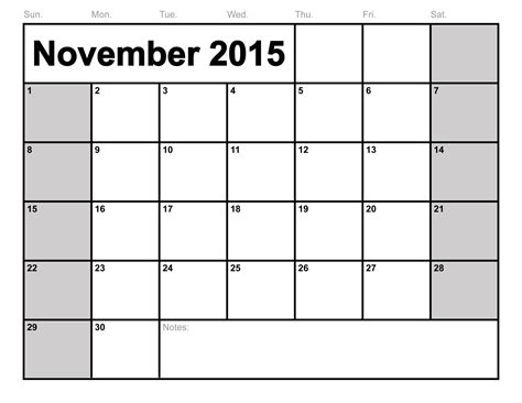 Calendar November 2015 November 2015 Calendar Printable Template 8 Templates