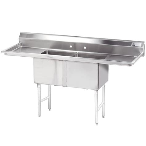 used stainless steel with drainboard advance tabco fc 2 1824 18rl two compartment stainless
