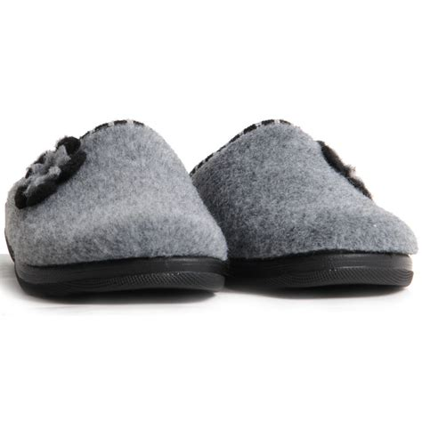 warm house slippers womens slip on low wedge slippers flower decoration