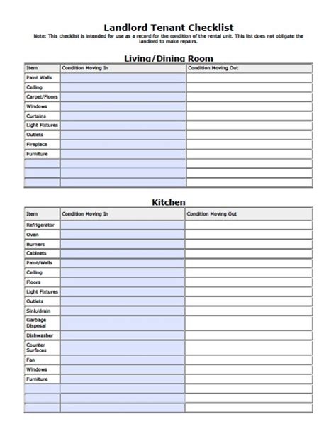 apartment walkthrough checklist template free washington state landlord tenant move in checklist pdf