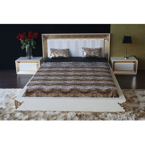 gold leaf headboard high gloss white bedstead with gold leaf carving and white