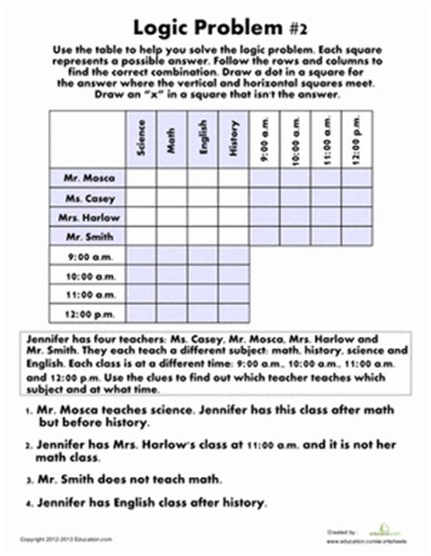 printable logic puzzles 6th grade monster seance logic problem worksheet education com