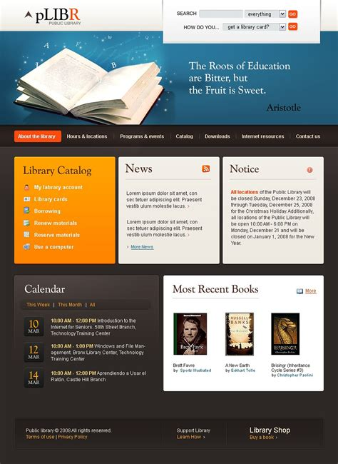templates for library website library website template 19812