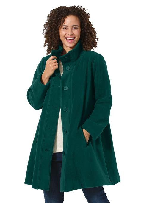 plus swing coat jacket swing style in cozy fleece plus size fleece