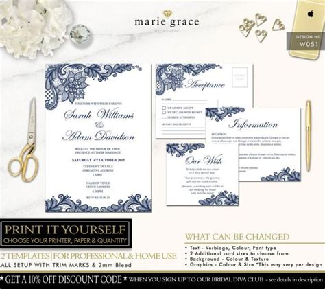 Navy And Lace Wedding Invitations