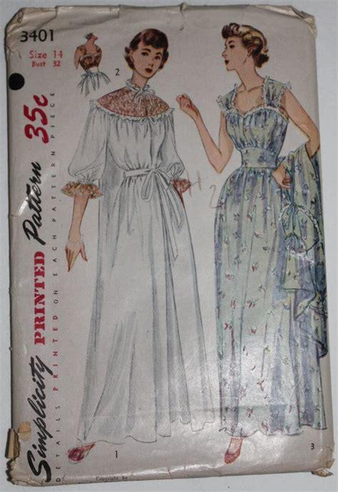 vintage nightwear pattern uncut vintage 50s simplicity 3401 nightgown negligee