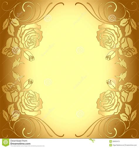 frame pattern images background frame with gold pattern of roses stock vector