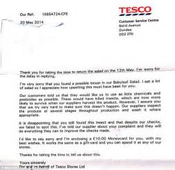 Apology Letter For Bad Service Experience Tesco Shopper Found Five Inch Locust In Salad Daily Mail