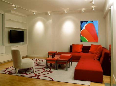 red livingroom home apartment furniture minimalis studio apartment