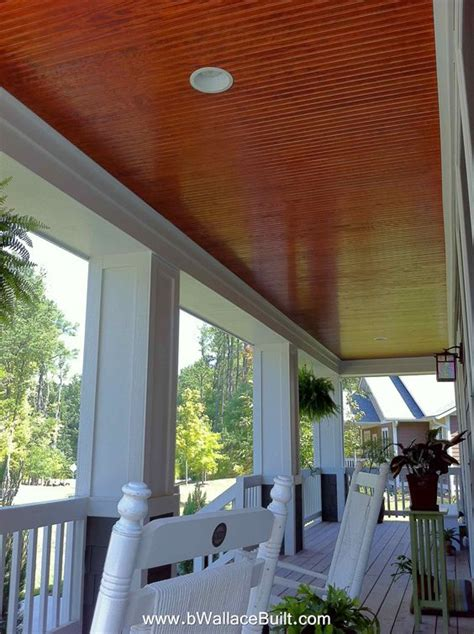 beautiful front porch with stained bead board ceiling
