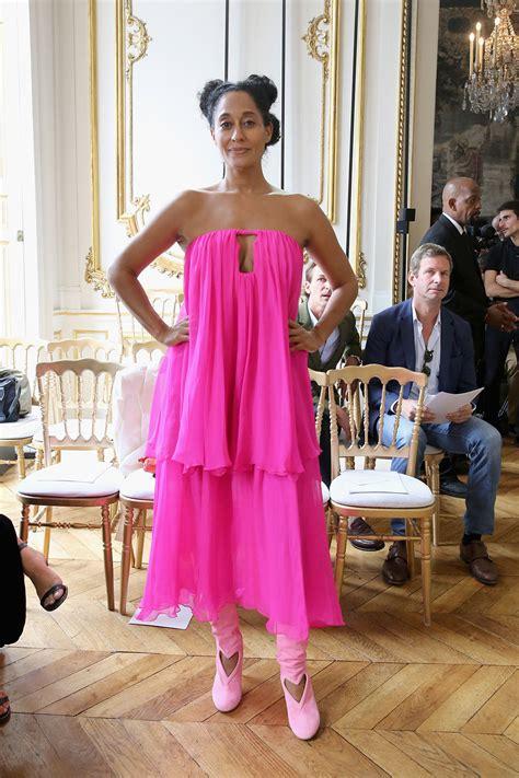 tracee ellis ross pink dress tracee ellis ross attends schiaparelli and monique