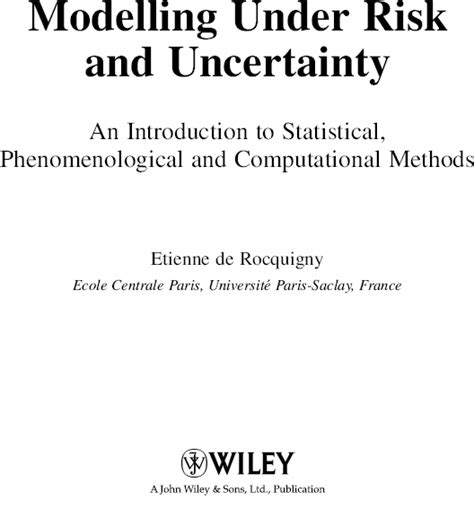 pattern analysis statistical modelling and computational learning title page modelling under risk and uncertainty an