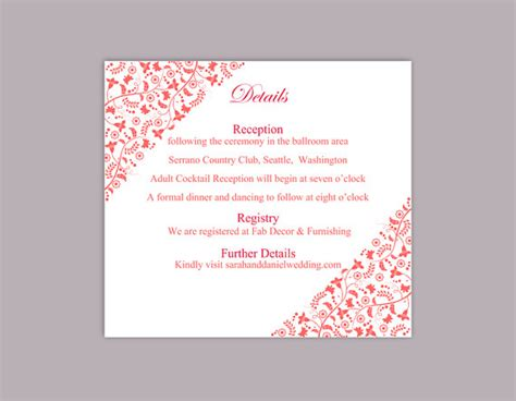 wedding details card template diy wedding details card template editable text word file