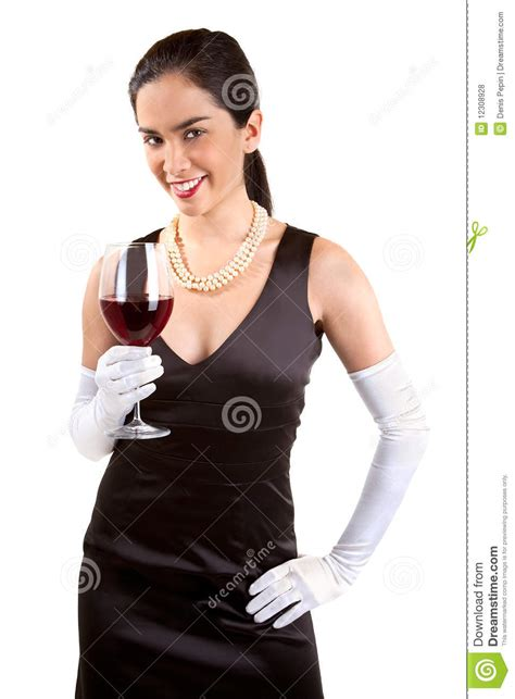 Classy Cocktail Party - smiling classy woman holding a glass of red wine stock photo image 12308928
