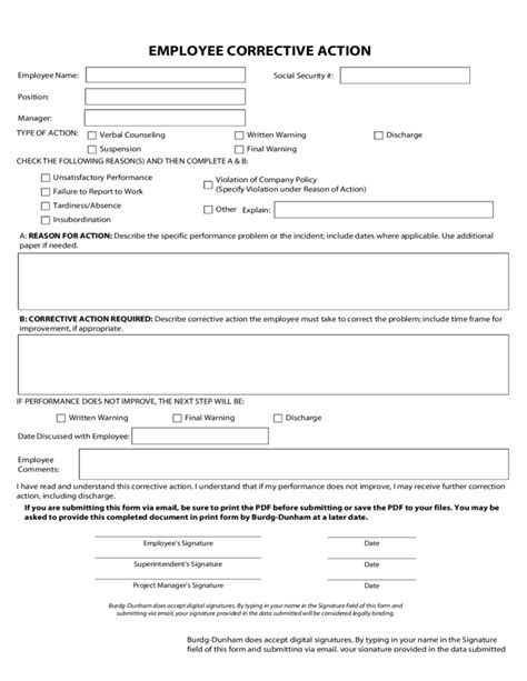 Employee Corrective Action Free Download Employee Corrective Plan Template