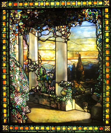 the art glass of louis comfort tiffany file landscape with a greek temple by louis comfort