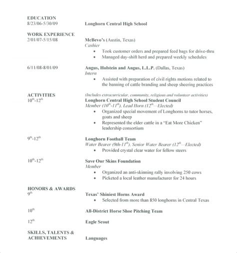 Resume Template School Student by Sle High School Resume Template 6 Free Documents In