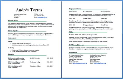 Resume Profile Section Examples by Cv Two Pages Example