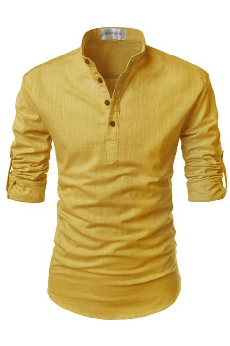 Linen Shirt mens yellow henley mandarin collar roll up sleeved