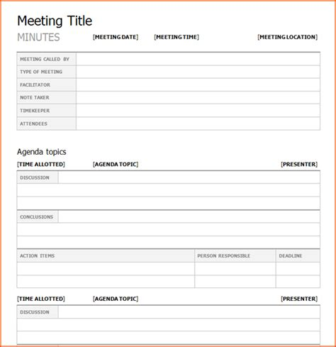 meeting notes template word 4 meeting minutes template word bookletemplate org