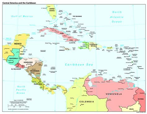 central america the caribbean map topoveralls central america photos