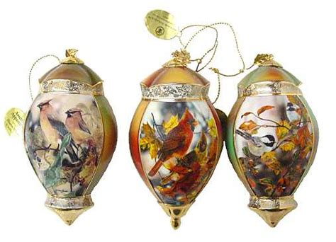 beautiful bird christmas ornament set 3 pc bradford