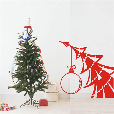 family tree wall decal christmas tree is bent by big ball