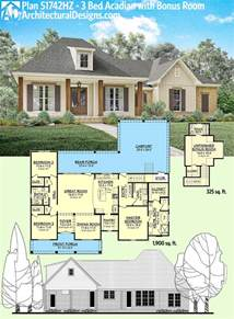 house plans by lot size plan 51742hz 3 bed acadian home plan with bonus over garage acadian house plans bonus rooms