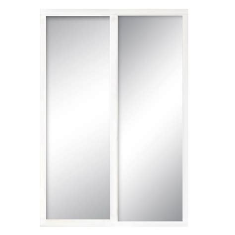 White Wood Sliding Closet Doors Contractors Wardrobe 48 In X 96 In Serenity Mirror White Wood Framed Interior Sliding Door Ser