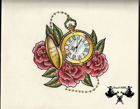 traditional pocket watch tattoo flash pocket by tausend nadeln on deviantart