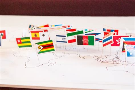 flags of the world map pins craft knife homeschool geography montessori pin flag map