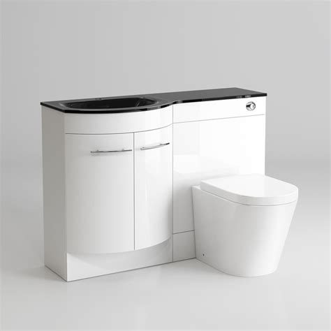 Glass Bathroom Vanity Units 1200mm Gloss White Combined Vanity Unit Black Glass Basin Lyon Pan Contemporary