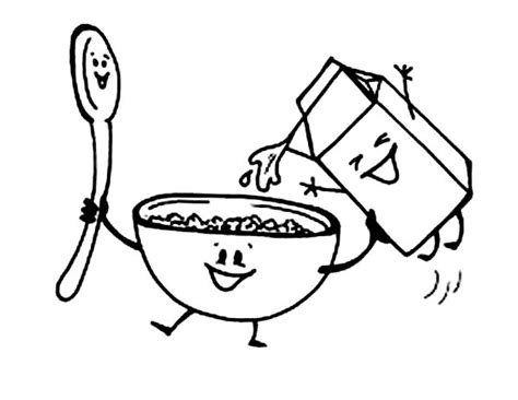 breakfast with cereal and milk coloring page coloring sun