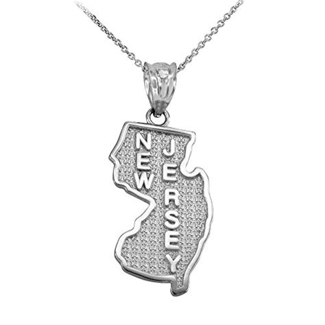 new jersey state nj map pendant necklace in 925 sterling