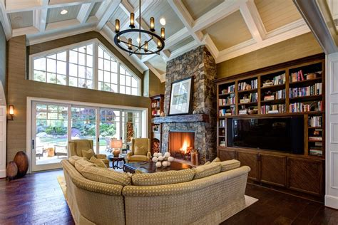 Bookcase Lamps Fireplace Vaulted Ceiling Family Room Traditional With